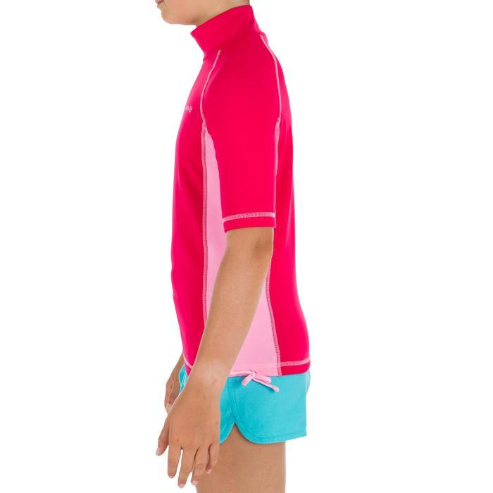 Thermische en uv-werende rashguard met korte mouwen voor kinderen roze