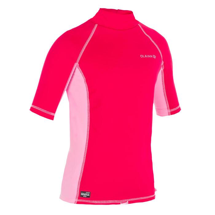 tee shirt anti UV surf top thermique polaire manches courtes enfant rose
