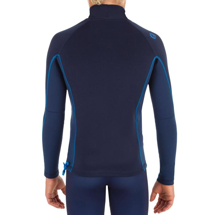 Thermo-Shirt langarm Surfen UV-Schutz Fleece Kinder blau
