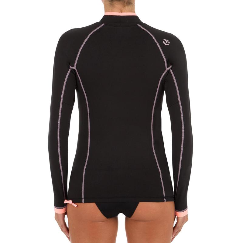 Tee shirt anti UV surf top 900 Thermique polaire Manches Longues Femme Noir   08861ee2c95