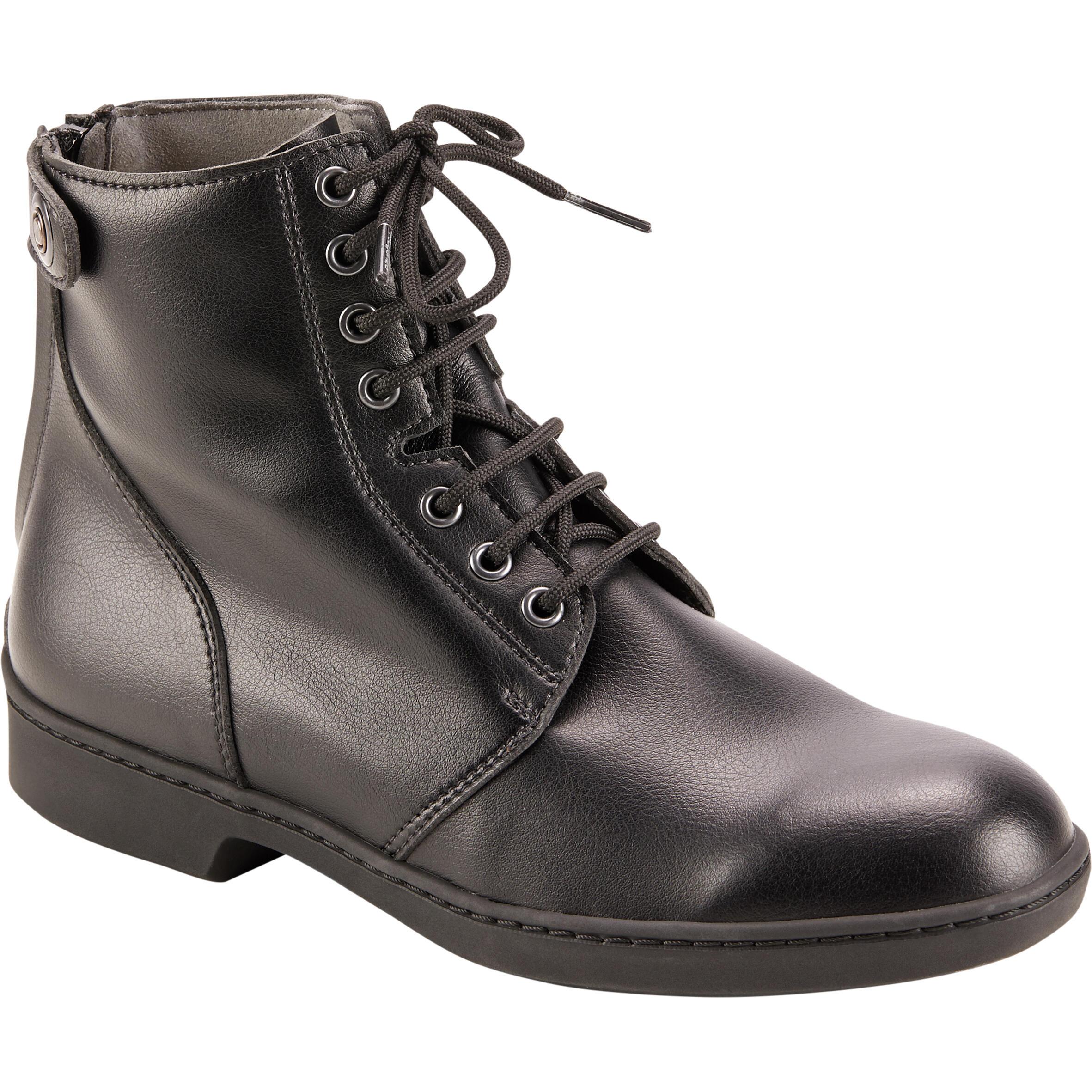 Boots à lacets équitation adulte 500 noir fouganza