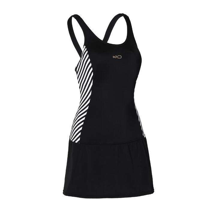 Women's Swimming One-Piece Swimsuit Vega Skirt - Twi Black