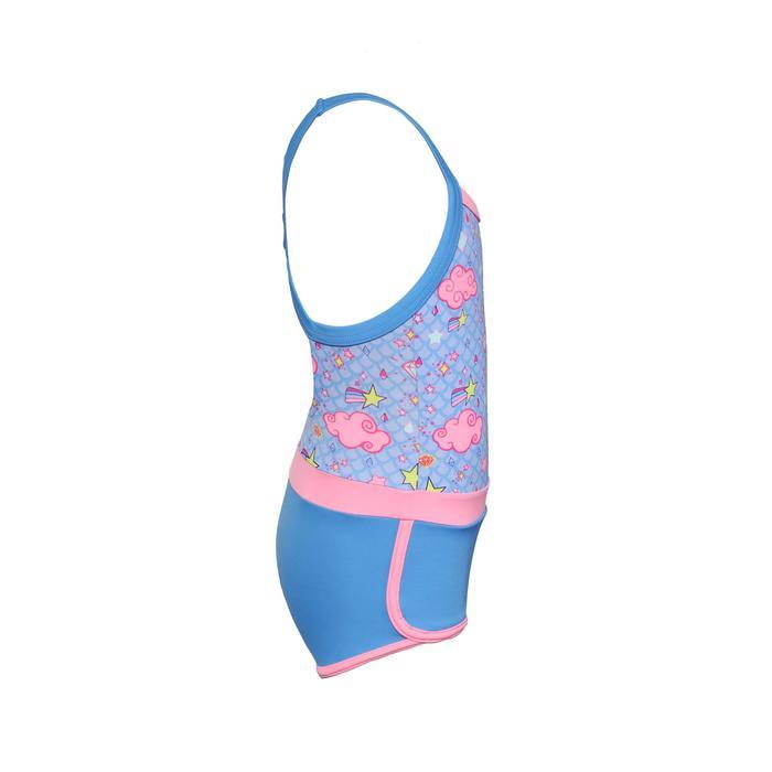 女童款單件式連身泳裝Debo - 鑽石圖案/藍色