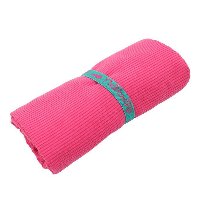 Microvezel handdoek geribbeld roze maat L 80 x 130 cm
