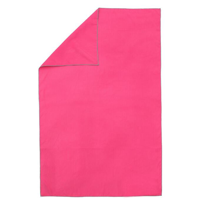 Serviette microfibre à rayures taille L 80 x 130 cm rose