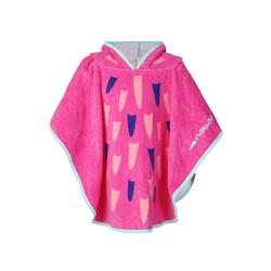 Pink baby poncho with hood Flamingo print