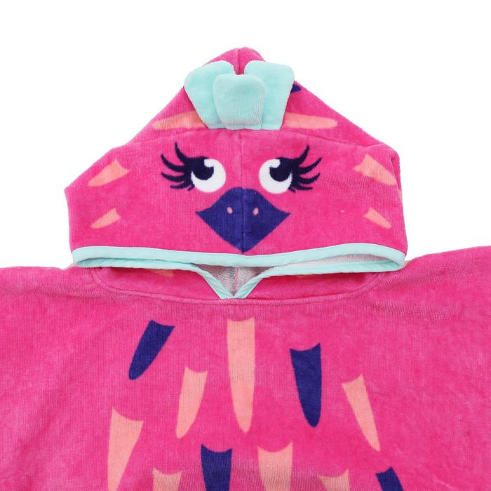 Baby's Printed Poncho with Pink Hood - Flamingo