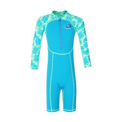 幼兒長袖泳衣 猴子造型印花 藍色 綠色