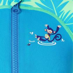 嬰幼兒長袖連身泳裝藍色印花