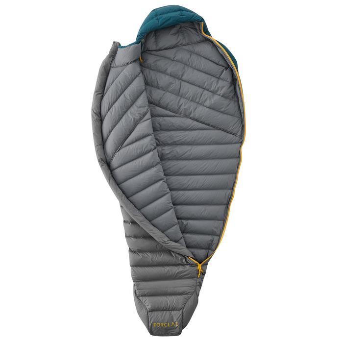 Slaapzak voor trekking Trek 900 10° veren blauw