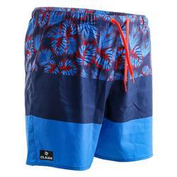 100 短衝浪板短褲 方塊  藍色