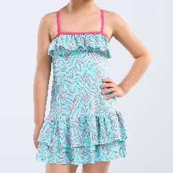 Hanae Girls' One-Piece Dress Swimsuit - Palm Blue