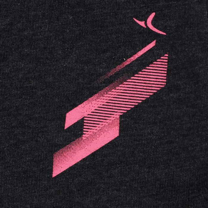 Sporthose kurz 500 Gym Kinder grau/rosa mit Print