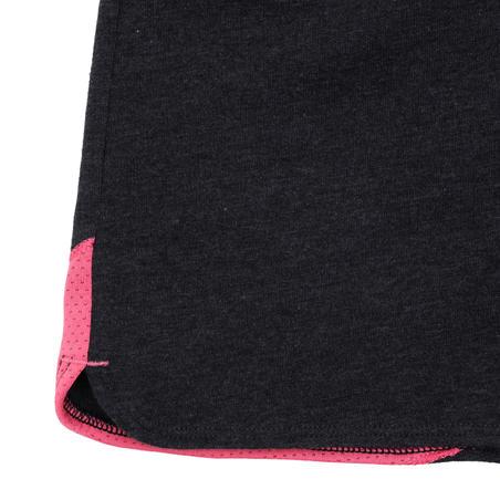 500 Girls' Printed Gym Shorts - Grey/Pink