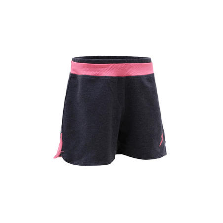 Girls' 500 Gym Shorts - Abu-abu/Print Pink