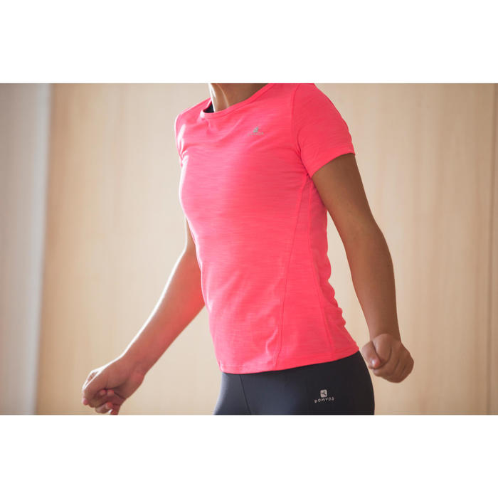T-Shirt manches courtes S500 Gym Fille rose