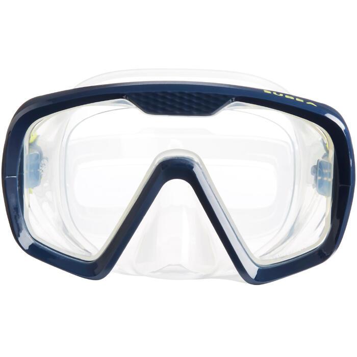 Masque de plongée bouteille SCD 100 jupe translucide et cerclage bleu - 1335926