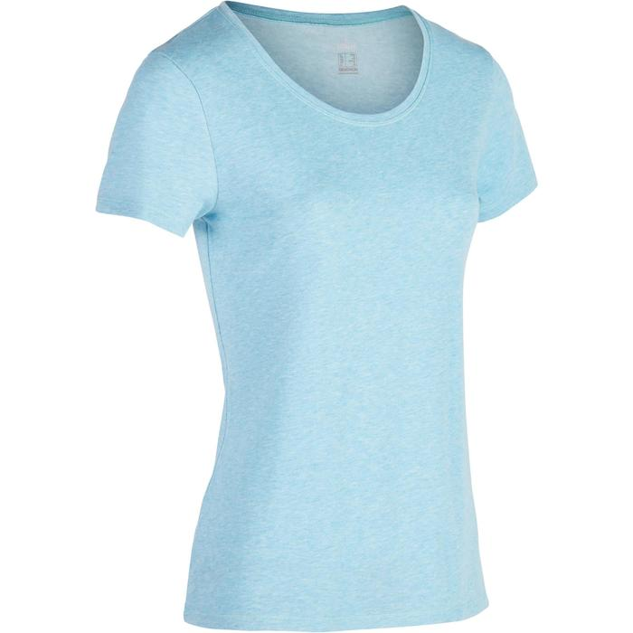 T-shirt 500, gym en pilates, korte mouwen, regular, dames, gemêleerd middenblauw
