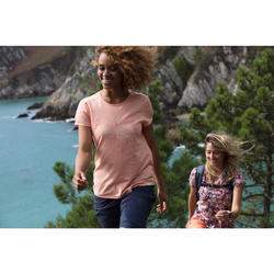 Dames T-shirt wandelen in de natuur NH500 bordeaux
