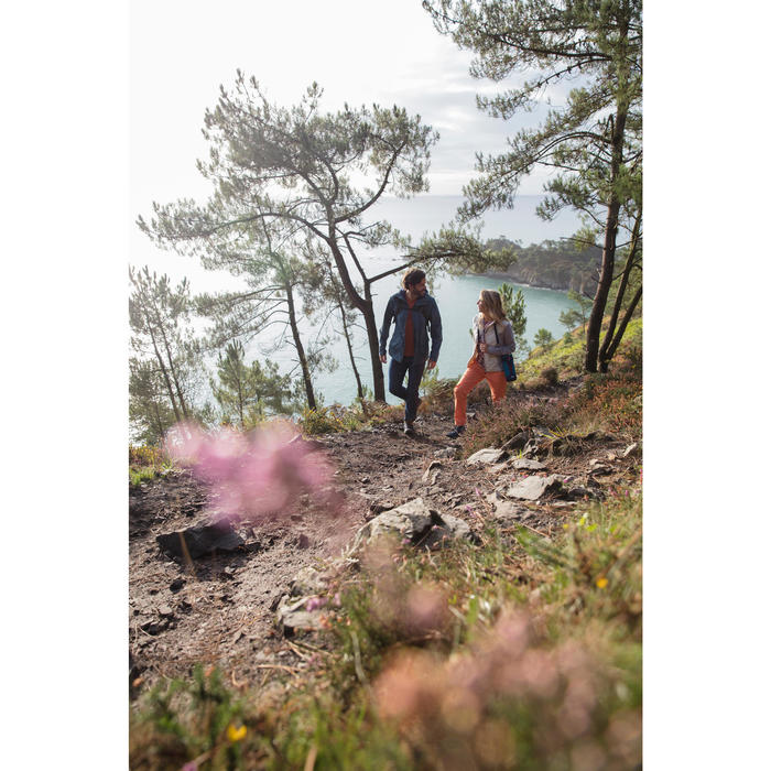 Wanderschuhe Naturwandern NH150 Mid halbhoch wasserdicht Herren blau/braun