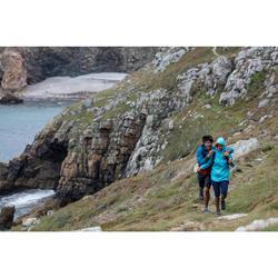 Coupe pluie Imperméable randonnée nature NH100 Raincut zip bleu clair femme