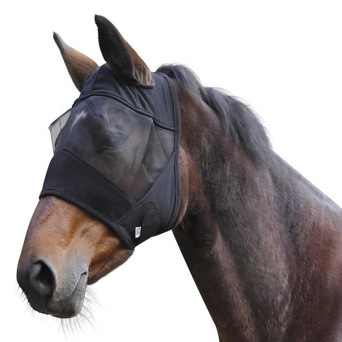 Masque anti-mouche équitation poney et cheval noir - 1336239