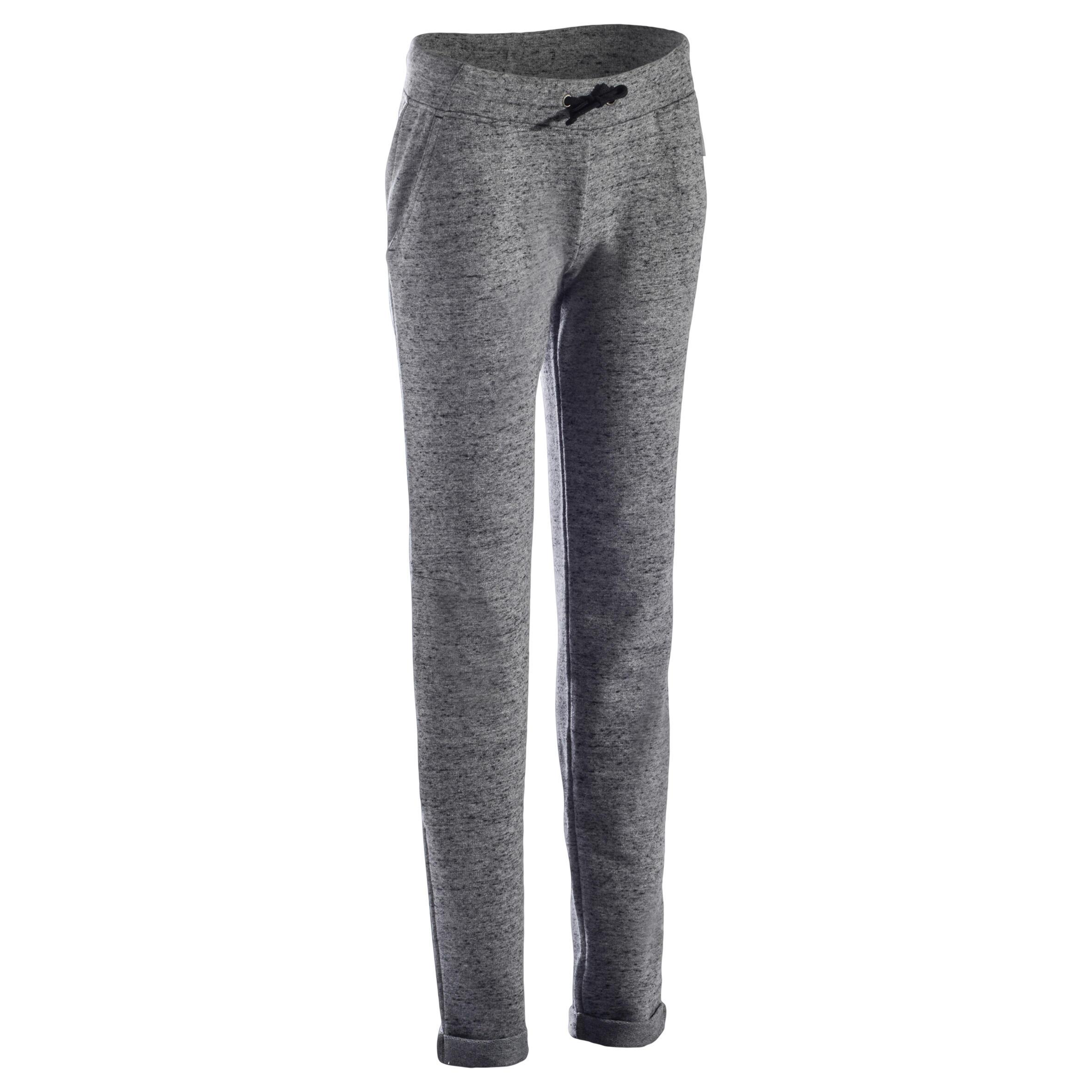 Pantalon 500 mince Gymnastique extensibles femme gris chiné moucheté