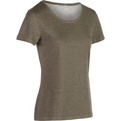Camiseta 500 regular de manga corta gimnasia y pilates mujer caqui jaspeado