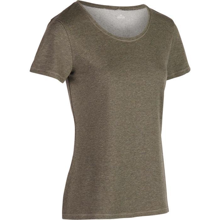 T-Shirt 500 régular manches courtes Gym & Pilates femme kaki chiné