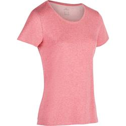 Dames T-shirt 500 regular voor gym en stretching gemêleerd donkerroze