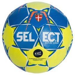 Ballon de Handball Maxi Grip SELECT de couleur jaune et bleu Taille 2