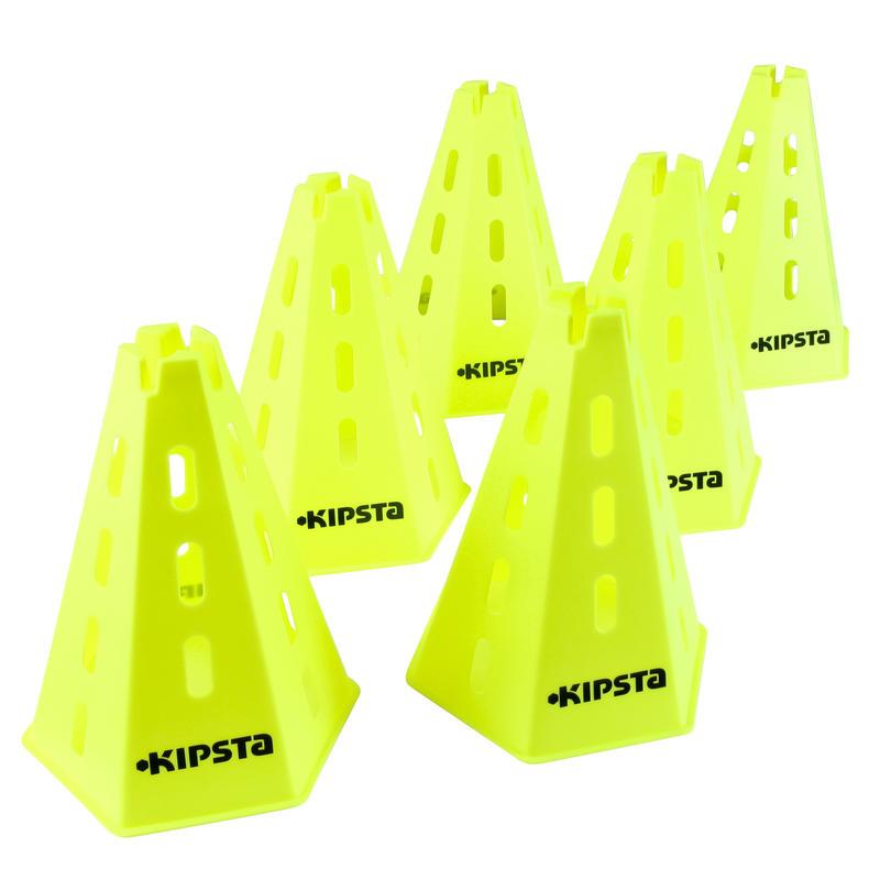Pack 6 conos modulables 30 cm amarillo
