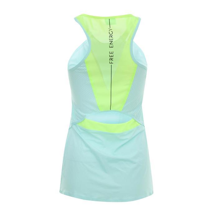 女款有氧健身運動背心900 - 薄荷綠/黃色