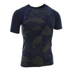 500 交叉訓練加壓T-Shirt - 黑色/藍色