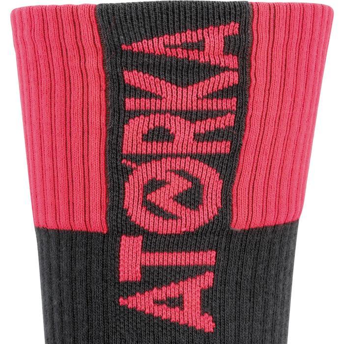 Handbalsokken H500 hoog grijs/roze