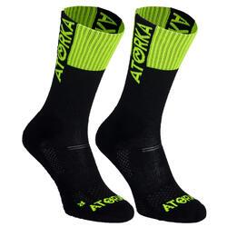 Chaussettes de handball H500 noires et vertes