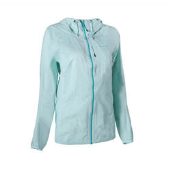 Women's Fast Hiking Waterproof Jacket FH500 Helium Rain - Mint