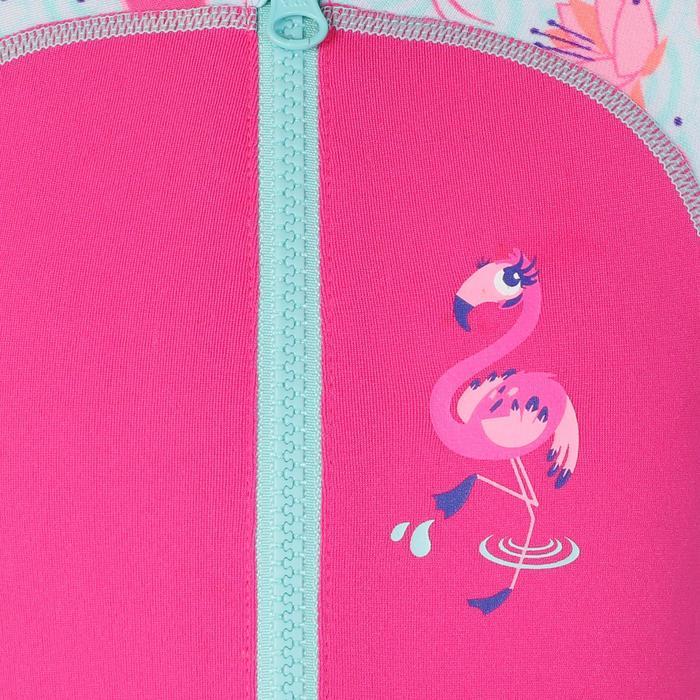 嬰幼兒長袖連身泳裝粉紅色印花