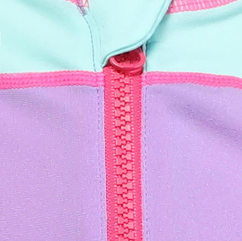 ชุดว่ายน้ำทรงขาสั้นสำหรับเด็กผู้หญิง (สีม่วง/ฟ้า)
