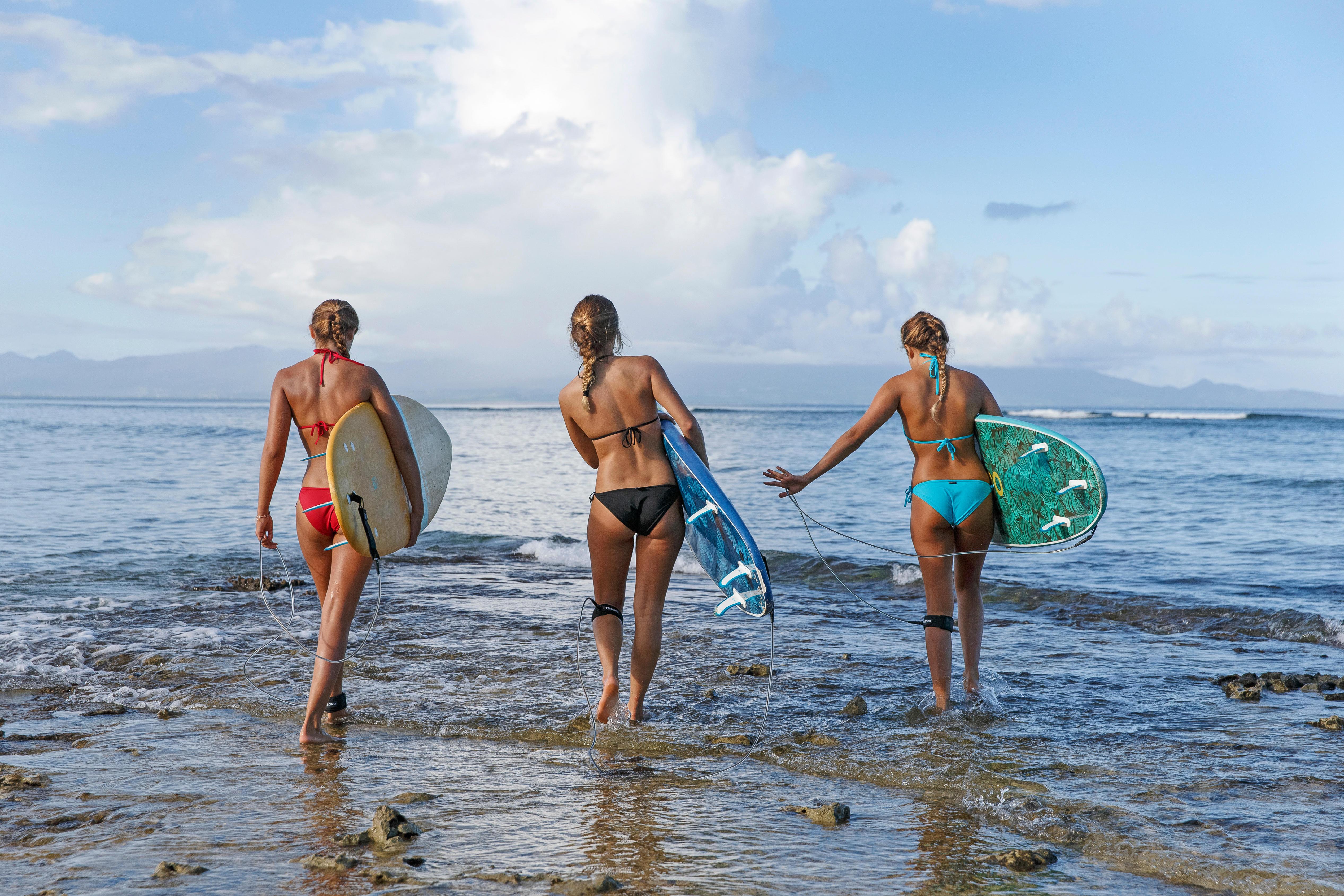 Bas de maillot de bain de surf femme nouée côté SOFY ROUGE
