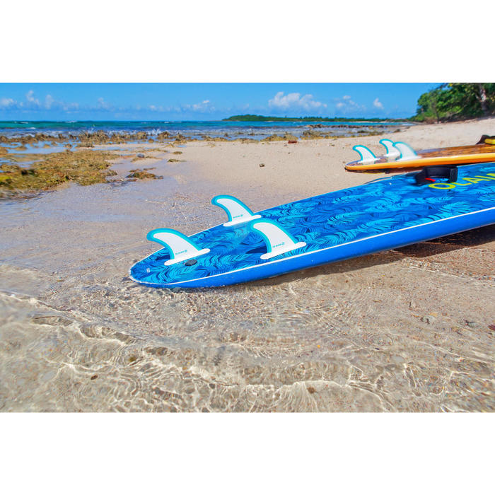 Tabla Surf Espuma Evolutiva Olaian 100 8,6' Adulto Azul Verde Leash Quillas