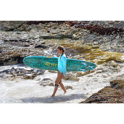 Tabla Surf Espuma Evolutiva Olaian 100 8' Adulto Turquesa Naranja Leash Quillas