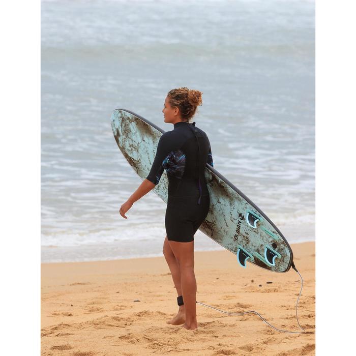 Dames shorty 500 stretch neopreen 2 mm voor surfen zwart met print