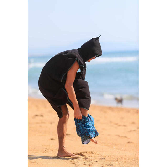 Poncho Toalla Playa Surf Olaian 500 Adulto Negro Cambiador