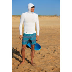 Men's Surfing Long Sleeve UV-Protection T-Shirt with hood 500 - White