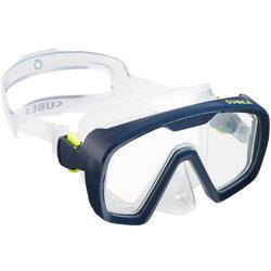 Duikbril voor diepzeeduiken SCD 100 transparante mantel en blauw frame