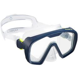 Máscara de submarinismo con botella SCD 100, facial translúcido y montura azul