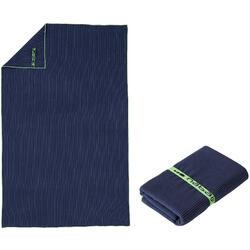 Microvezelhanddoek donkerblauw met strepen maat L 80 x 130 cm