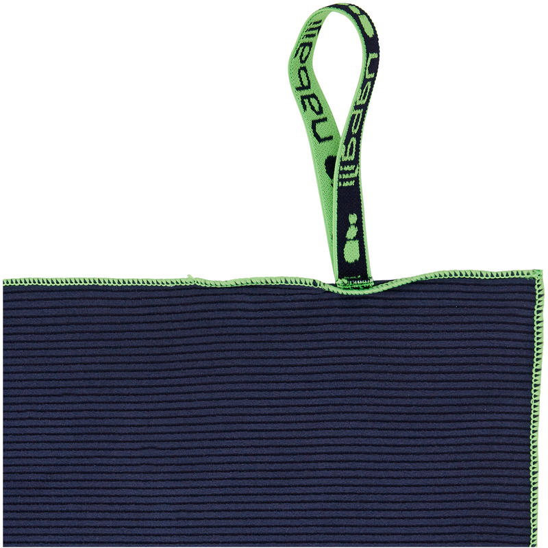 Compact Microfibre Towel Large Striped - Navy Blue