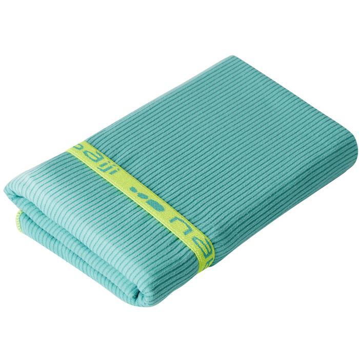 Serviette microfibre verte à rayures taille L 80 x 130 cm